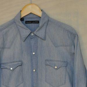 Ralph Lauern Black Label Snap Denim Shirt L
